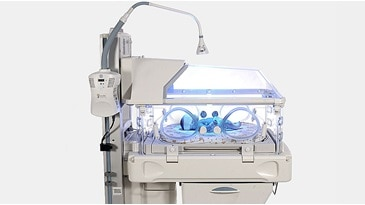 Phototherapy incubator with infant